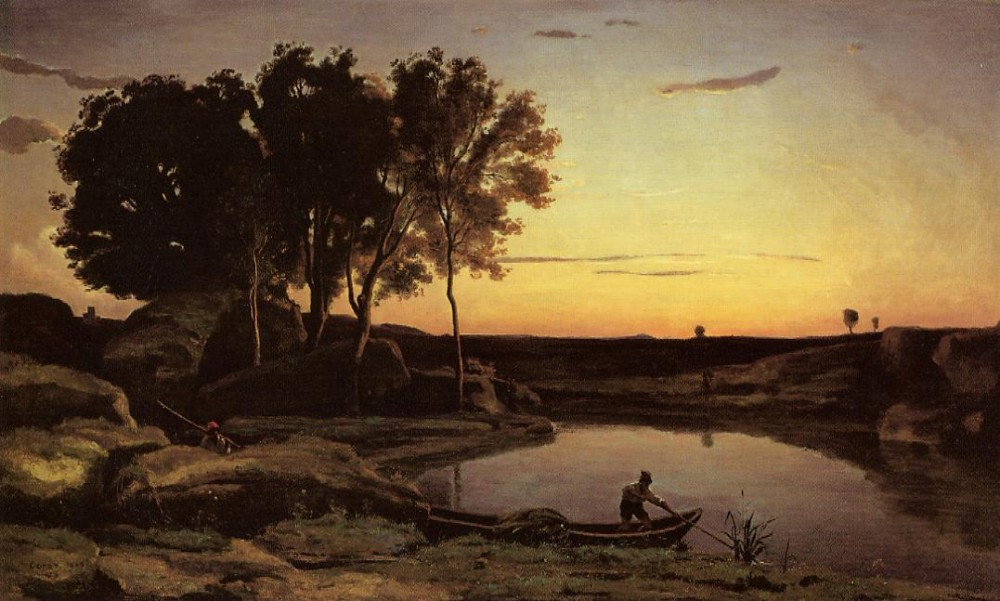 Evening Landscape aka The Ferryman Evening by Jean-Baptiste-Camille Corot