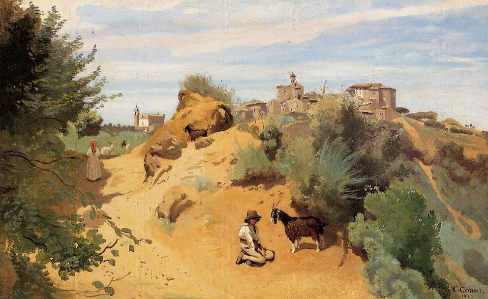 Genzano Goatherd and Village by Jean-Baptiste-Camille Corot