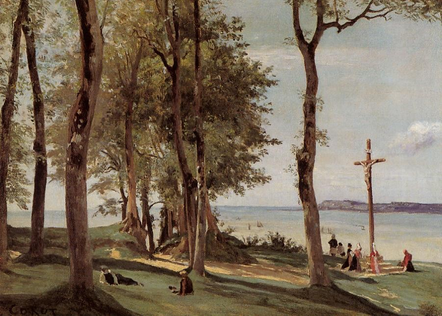 Honfleur Calvary on the Cote de Grace by Jean-Baptiste-Camille Corot