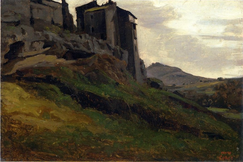 Marino Large Buildings on the Rocks by Jean-Baptiste-Camille Corot