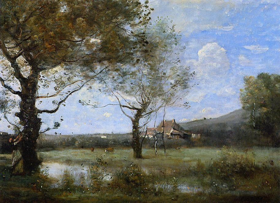Meadow with Two Large Trees by Jean-Baptiste-Camille Corot