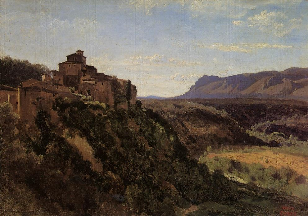 Papigno Buildings Overlooking the Valley by Jean-Baptiste-Camille Corot