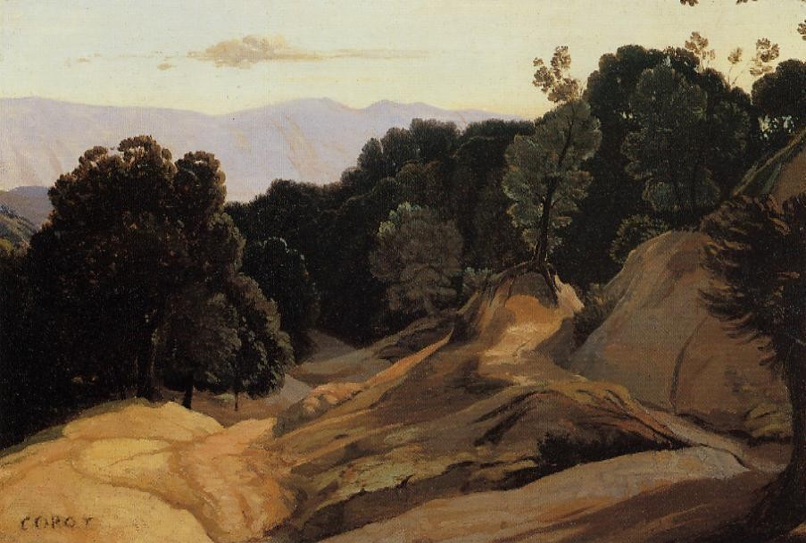 Road through Wooded Mountains by Jean-Baptiste-Camille Corot