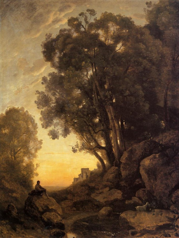 The Italian Goatherd Evening by Jean-Baptiste-Camille Corot
