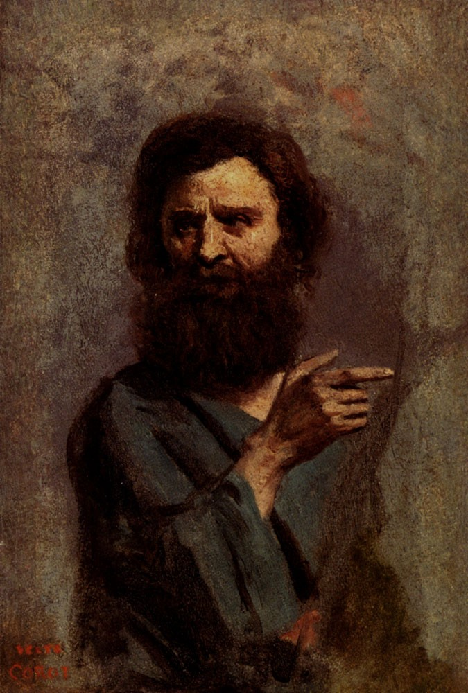 Corot Head Of Bearded Man by Jean-Baptiste-Camille Corot