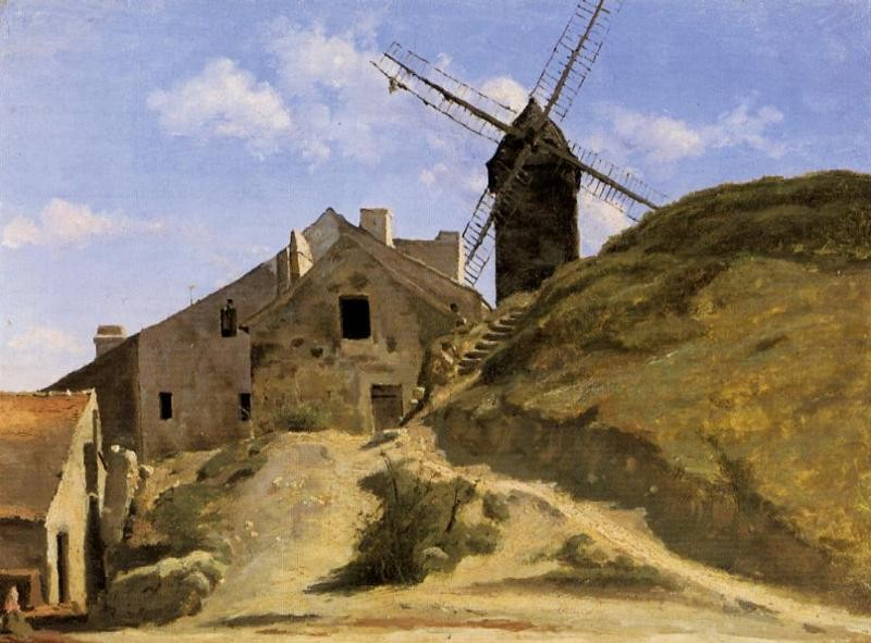 A Windmill in Montmartre by Jean-Baptiste-Camille Corot