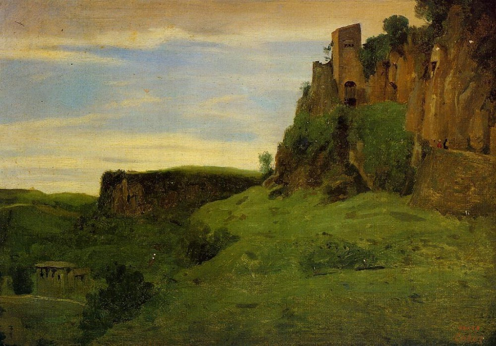 Civita Castelland Buildings High in the Rocks aka La Porta San Salvatore by Jean-Baptiste-Camille Corot