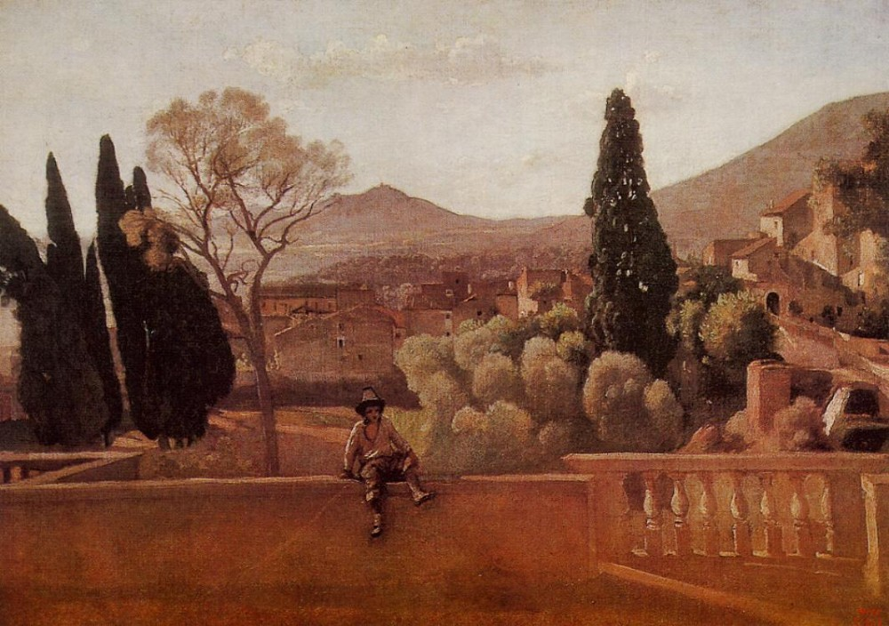 Gardens of the Villa d-Este at Tivoli by Jean-Baptiste-Camille Corot