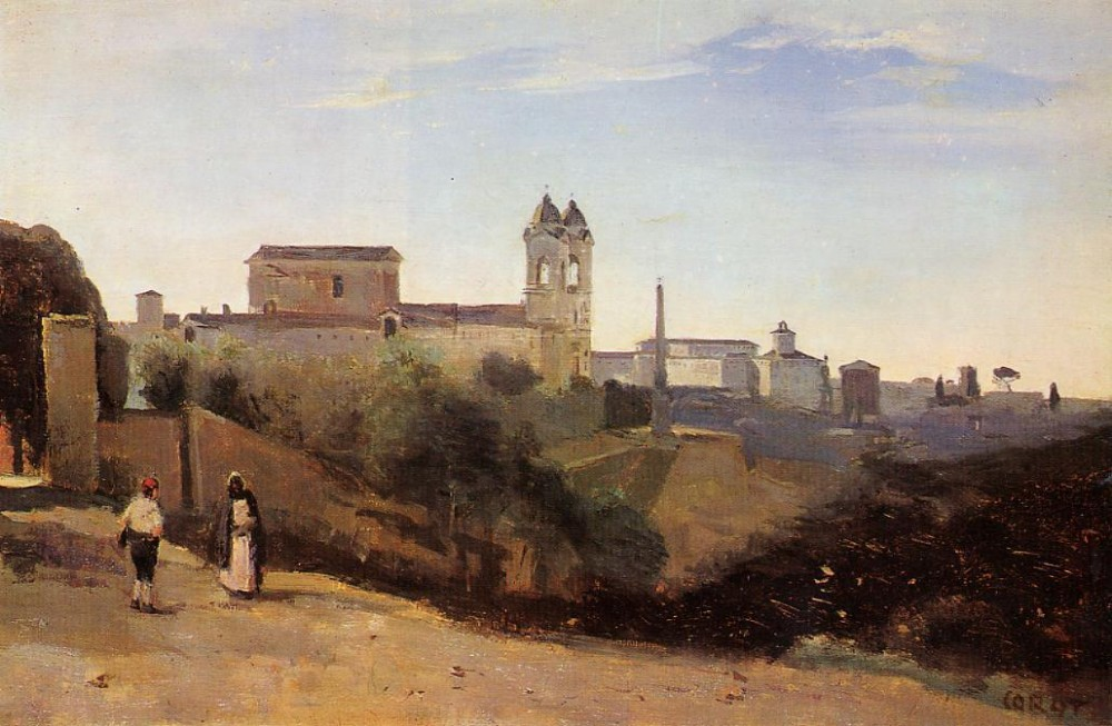 Rome Monte Pinco the Trinita dei Monte View from the Garden of the Academie de France by Jean-Baptiste-Camille Corot