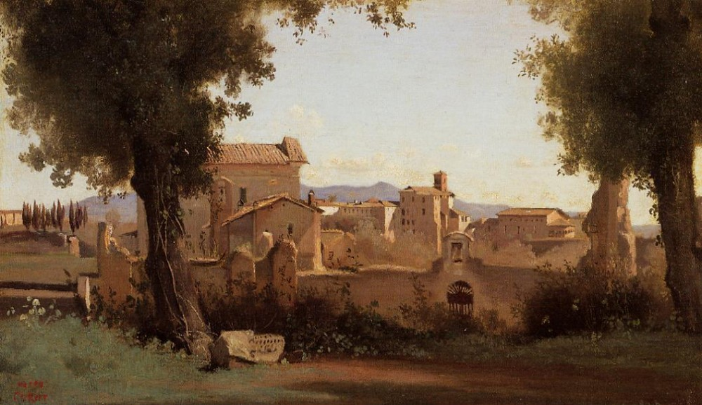 Rome View from the Farnese Gardens Morning by Jean-Baptiste-Camille Corot