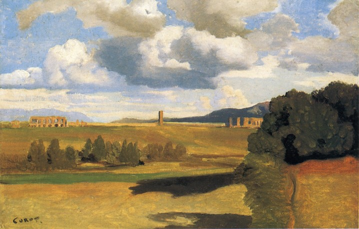 The Roman Campaagna with the Claudian Aqueduct by Jean-Baptiste-Camille Corot