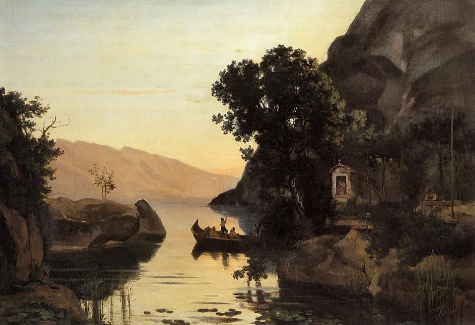 View at Riva Italian Tyrol by Jean-Baptiste-Camille Corot