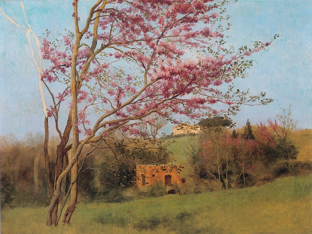Landscape Blossoming Red Almond by John William Godward