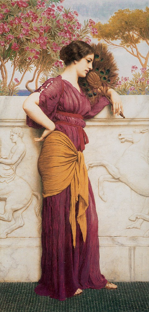 The Peacock Fan by John William Godward