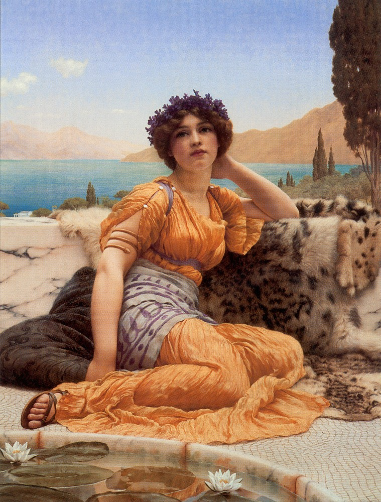 With Violets Wreathed and Robe of Saffron Hue by John William Godward
