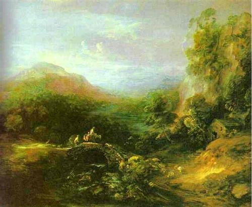 Mountain Landscape with Peasants Crossing a Bridge by Thomas Gainsborough