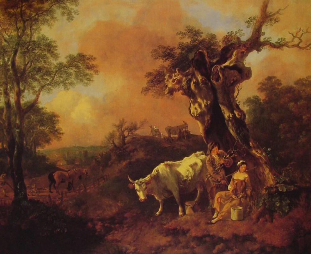 Landscape With A Woodcutter And Milkmaid by Thomas Gainsborough