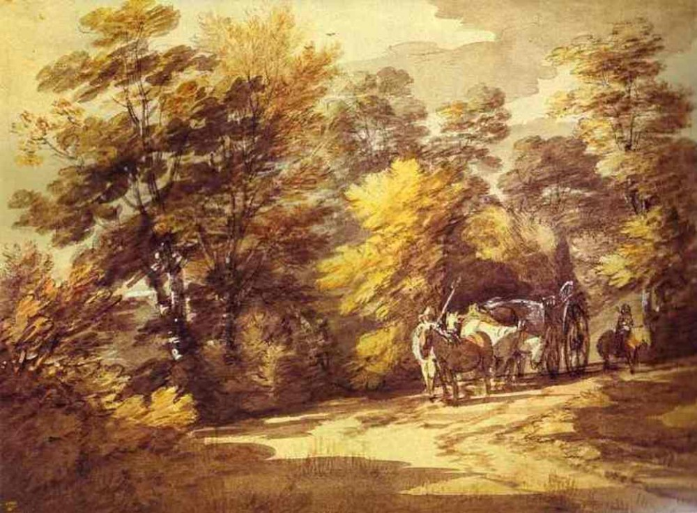 Wooded Landscape With A Waggon In The Shade by Thomas Gainsborough