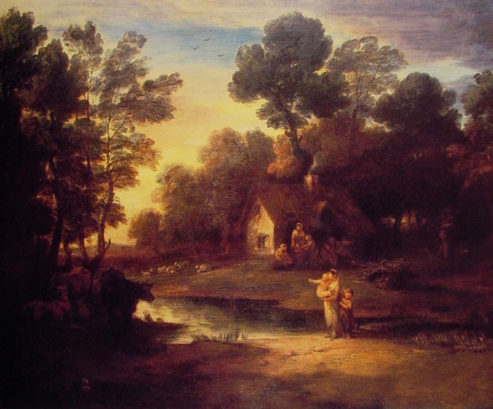 Wooded Landscape With Cattle By A Pool And A Cottage At Evening by Thomas Gainsborough