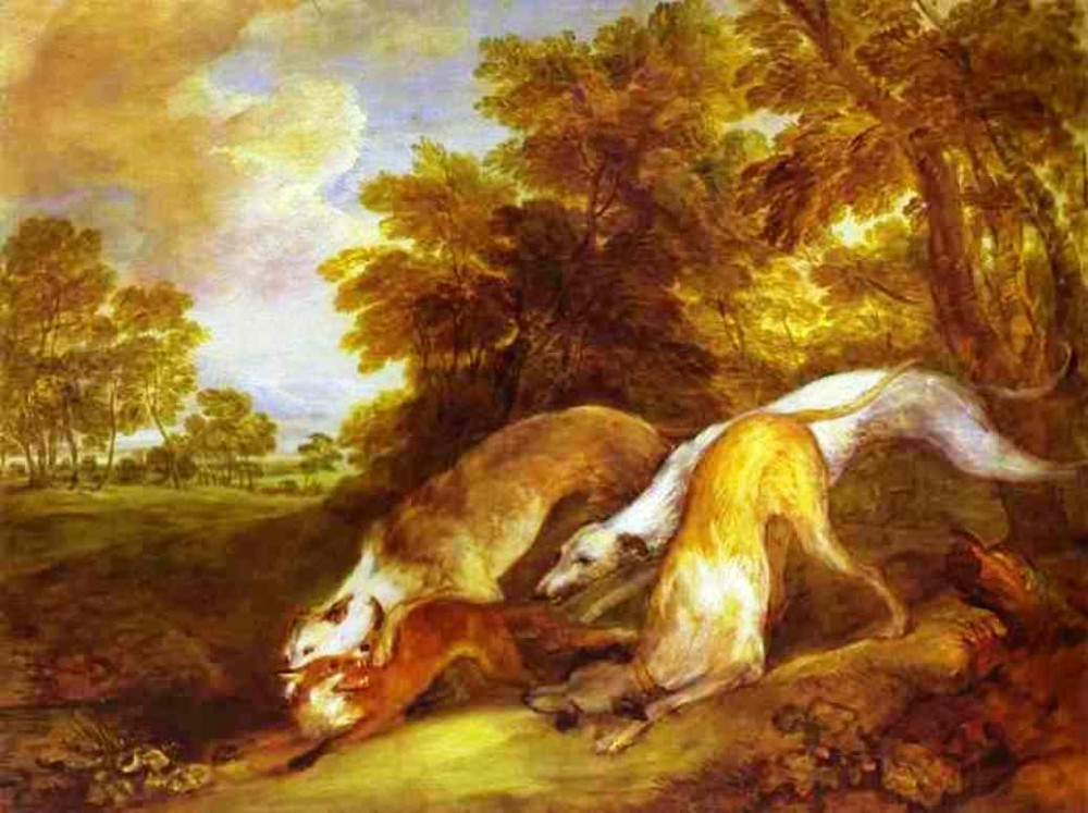 Dogs Chasing A Fox by Thomas Gainsborough