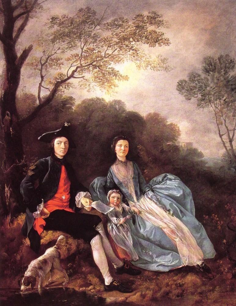 Portrait Of The Artist With His Wife And Daughter by Thomas Gainsborough