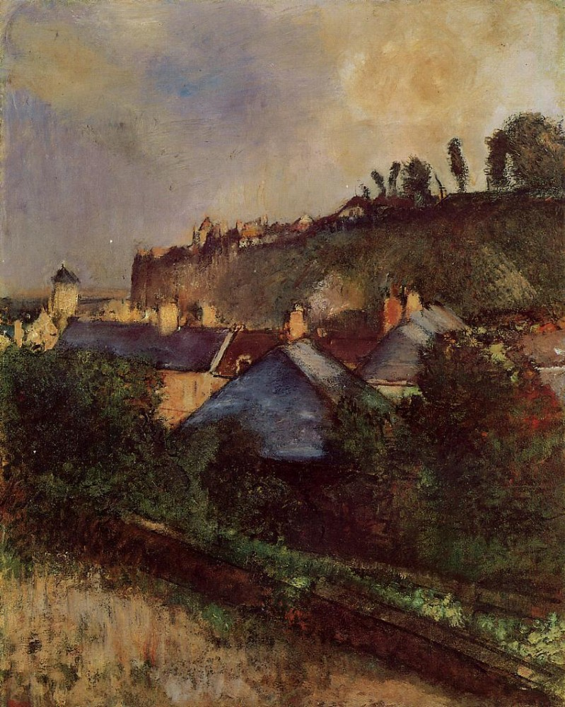 Houses at the Foot of a Cliff aka Saint-Valery-sur-Somme by Edgar Degas