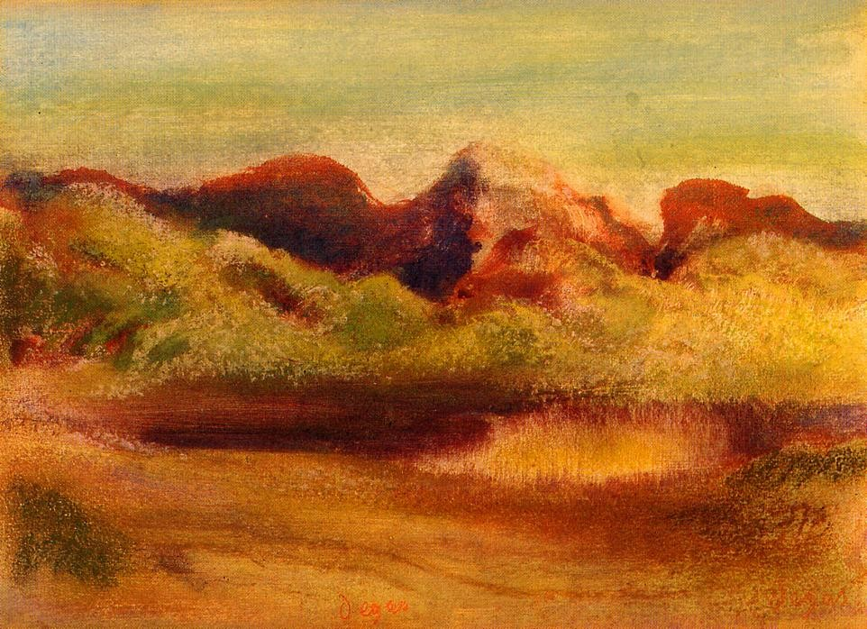 Lake and Mountains by Edgar Degas