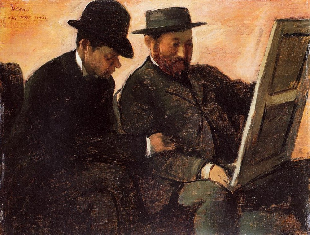 The Amateurs aka Paul Lafond and Alhonse Cherfils Examening a Painting by Edgar Degas