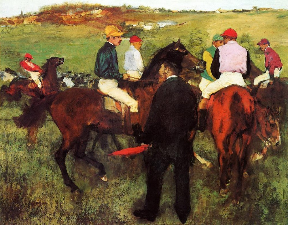 Racehorses at Longchamp by Edgar Degas