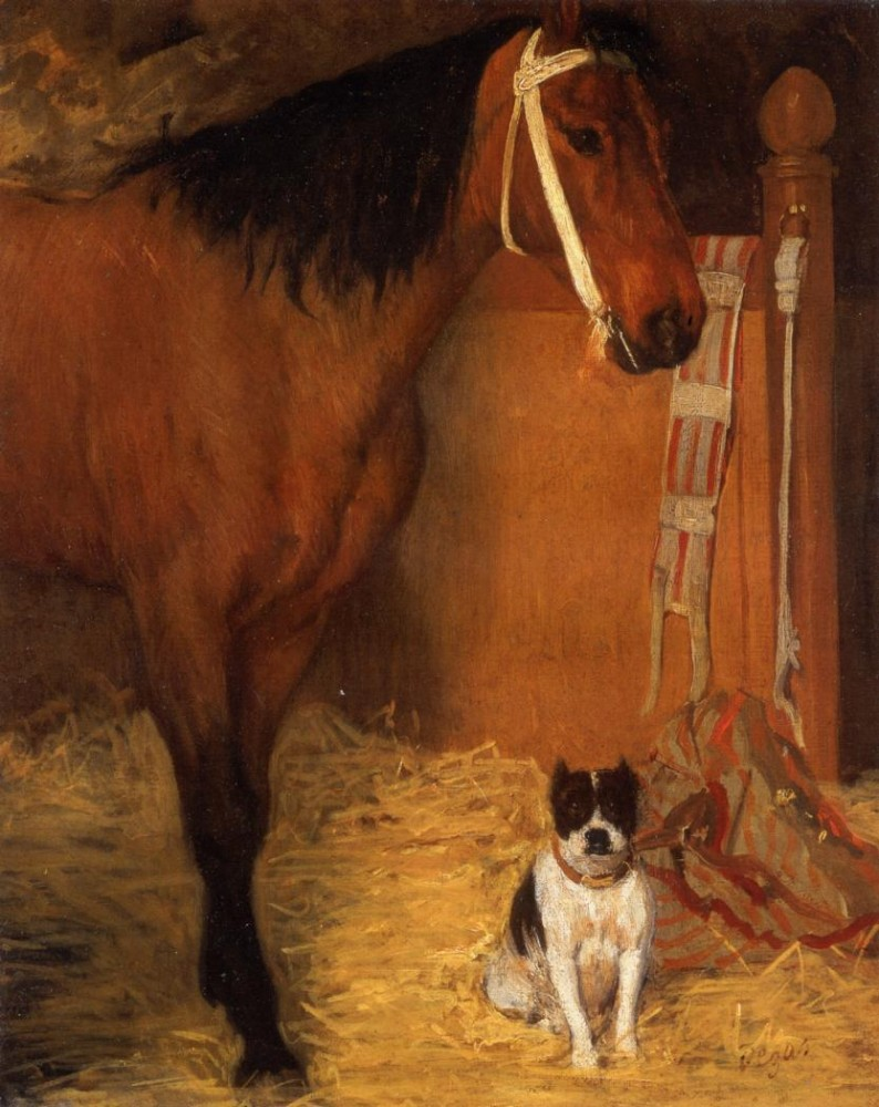 At the Stables, Horse and Dog by Edgar Degas