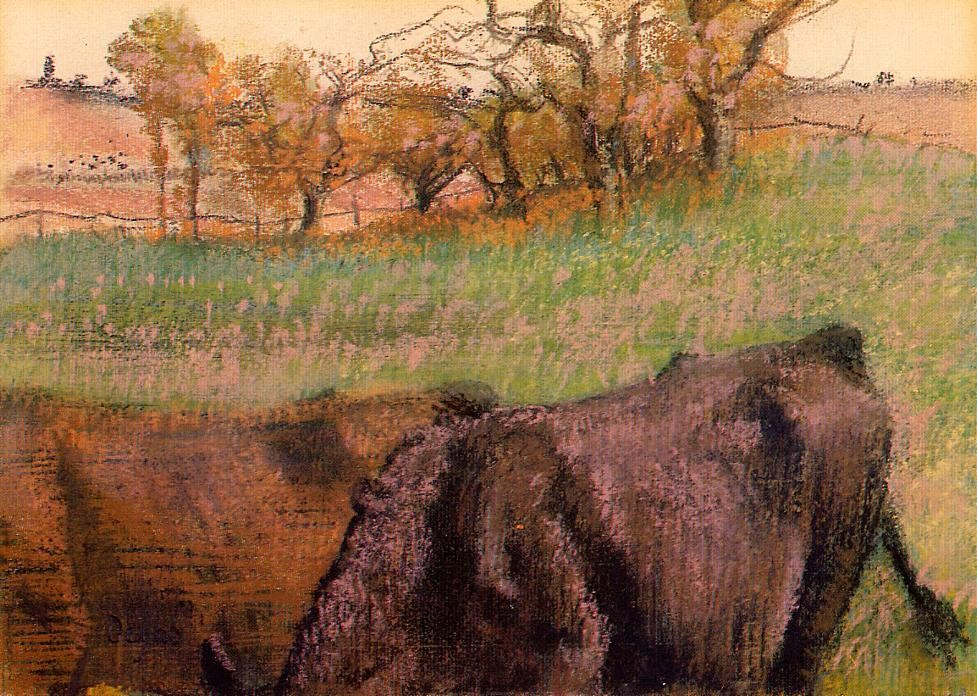 Landscape Cows in the Foreground by Edgar Degas