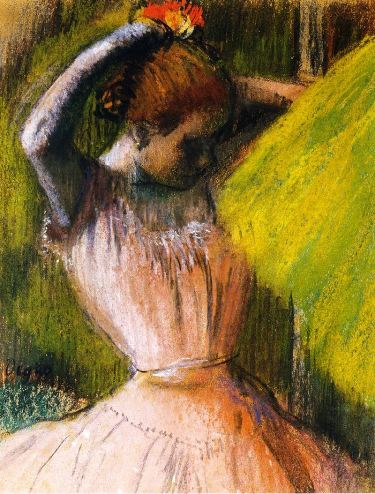 Ballet Corps Member Fixing Her Hair by Edgar Degas