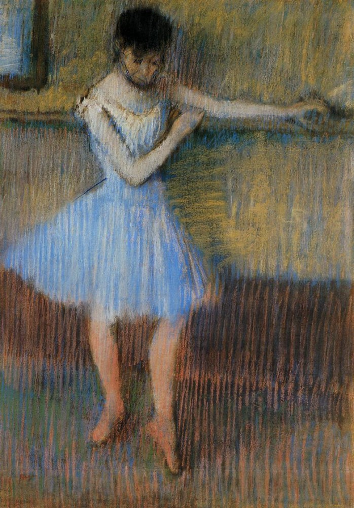 Dancer in Blue at the Barre by Edgar Degas