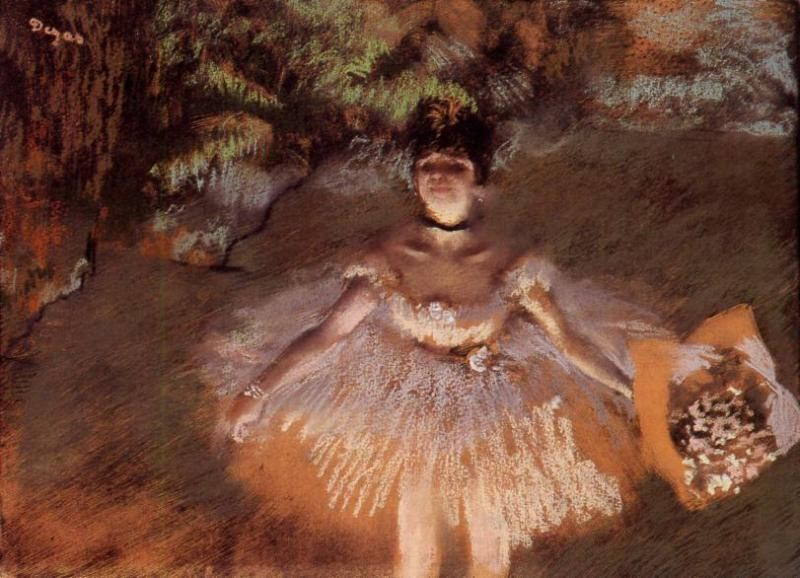 Dancer Onstage with a Bouquet by Edgar Degas