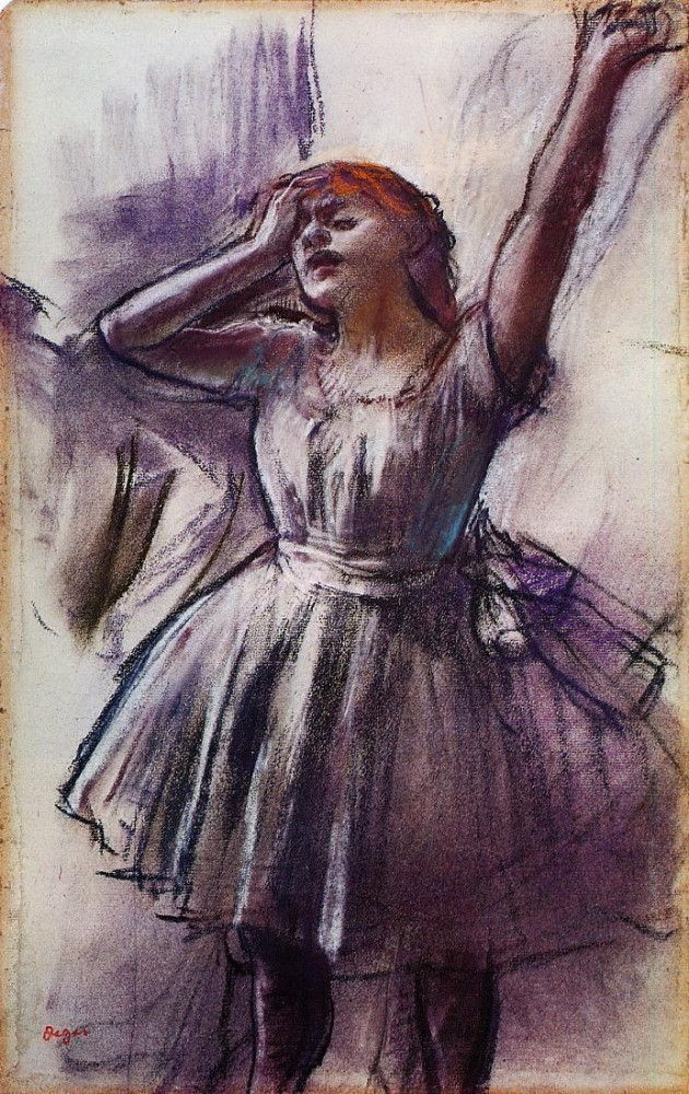 Dancer with Left Art Raised by Edgar Degas
