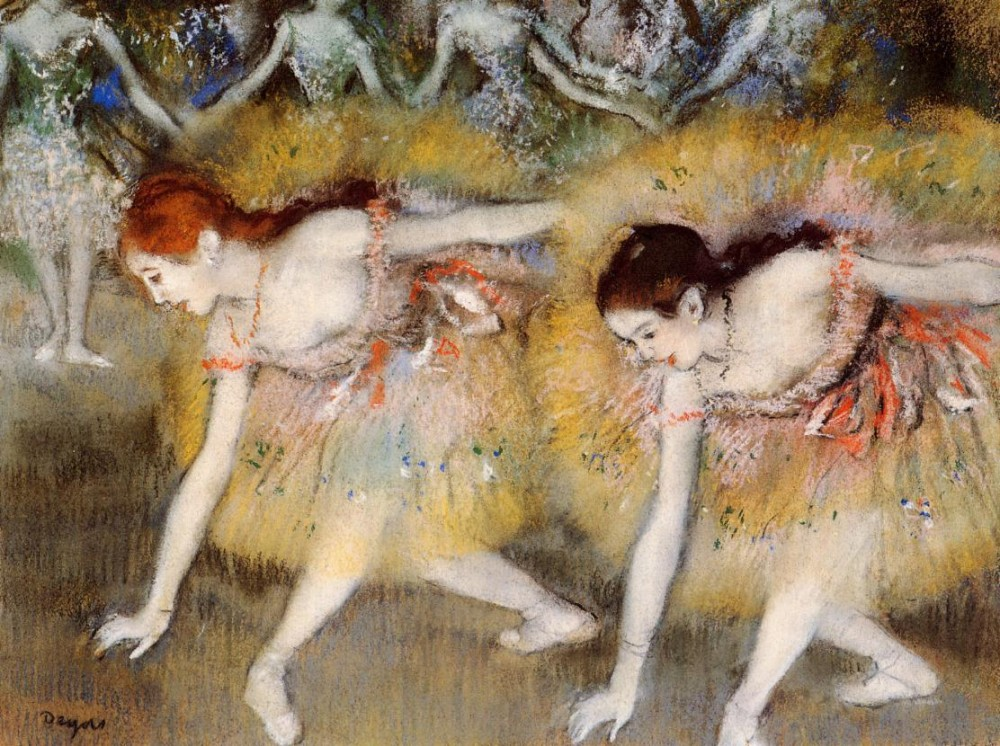 Dancers Bending Down aka The Ballerinas by Edgar Degas