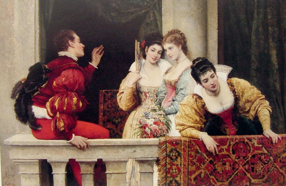 On the Balcony by Eugene de Blaas