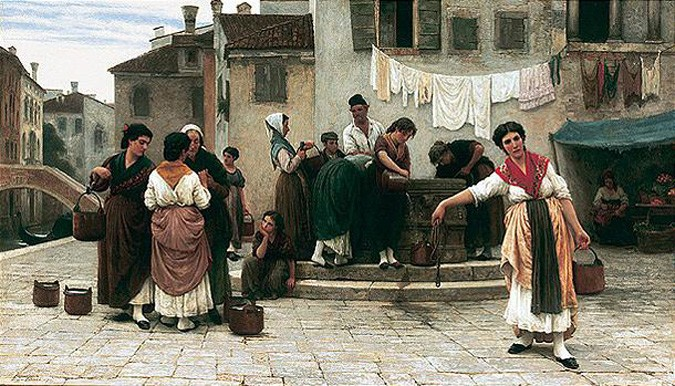 Am brunnen (at the well) by Eugene de Blaas