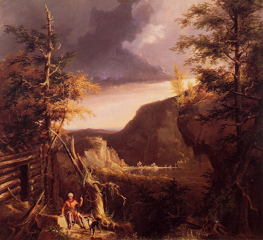 Daniel Boone Sitting at the Door of His Cabin On the Great Osage Lake Kentucky by Thomas Cole