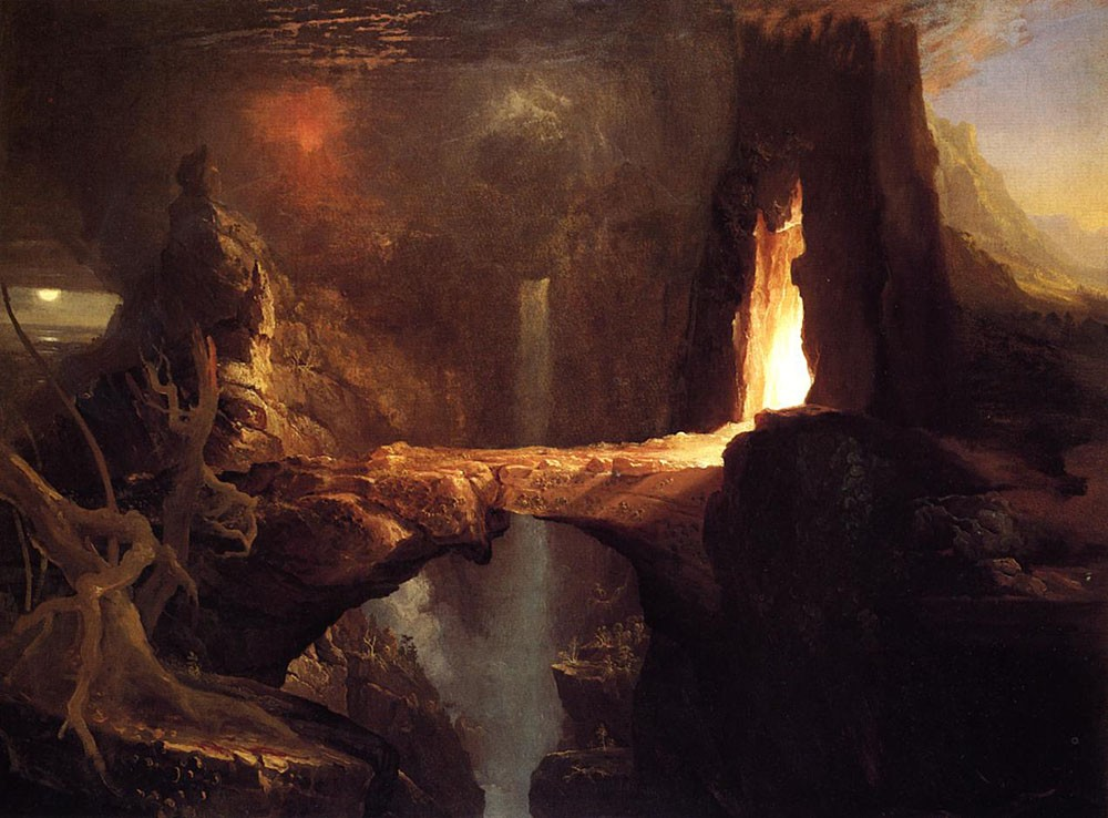 Expulsion Moon and Firelight by Thomas Cole