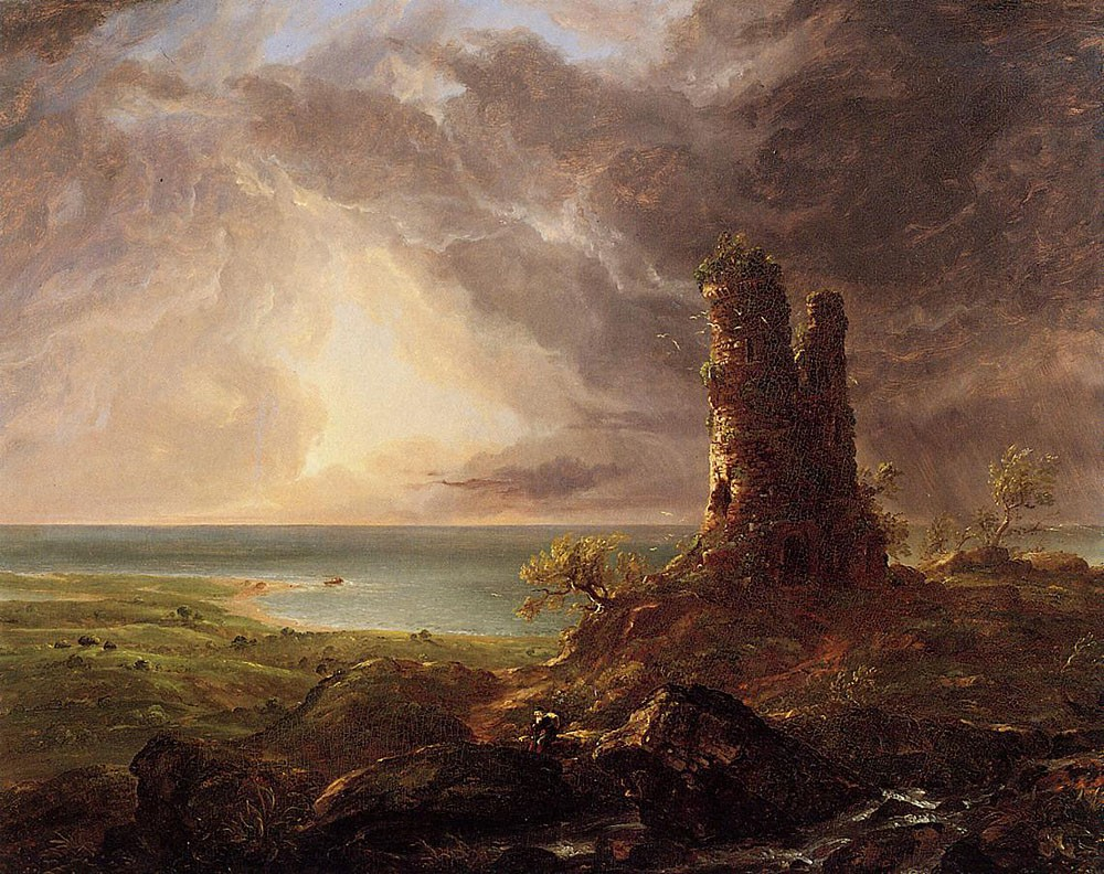 Romantic Landscape With Ruined Tower by Thomas Cole