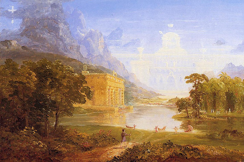 The Cross And The World Study For -The Pilgrim Of The World On His Journey- by Thomas Cole