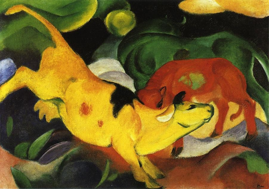 Cows Yellow Red Green by Franz Marc