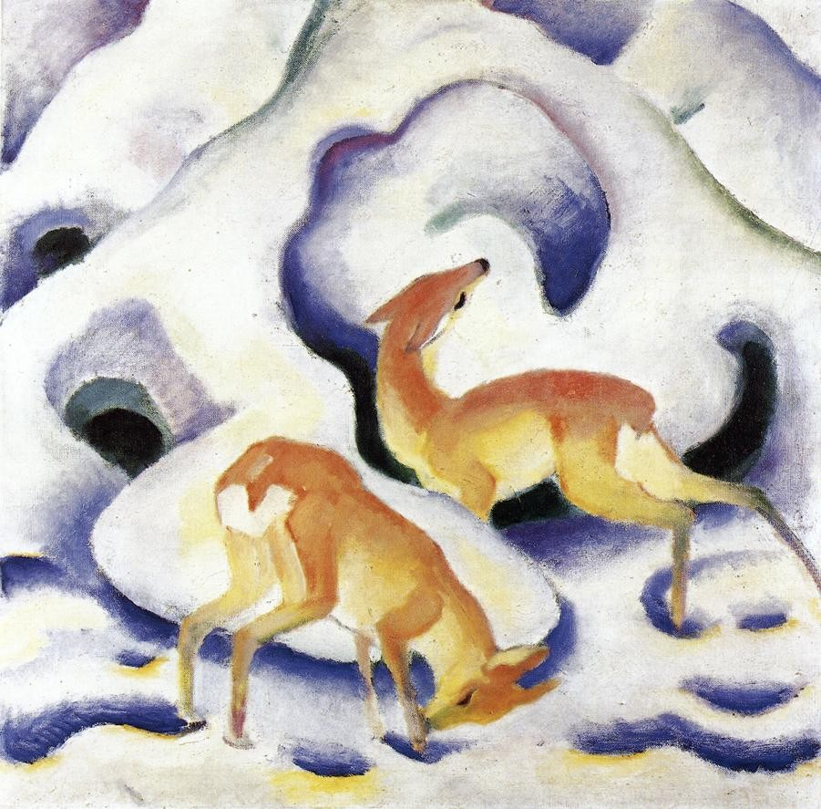 Deer In The Snow by Franz Marc