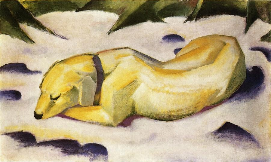 Dog Lying In The Snow by Franz Marc