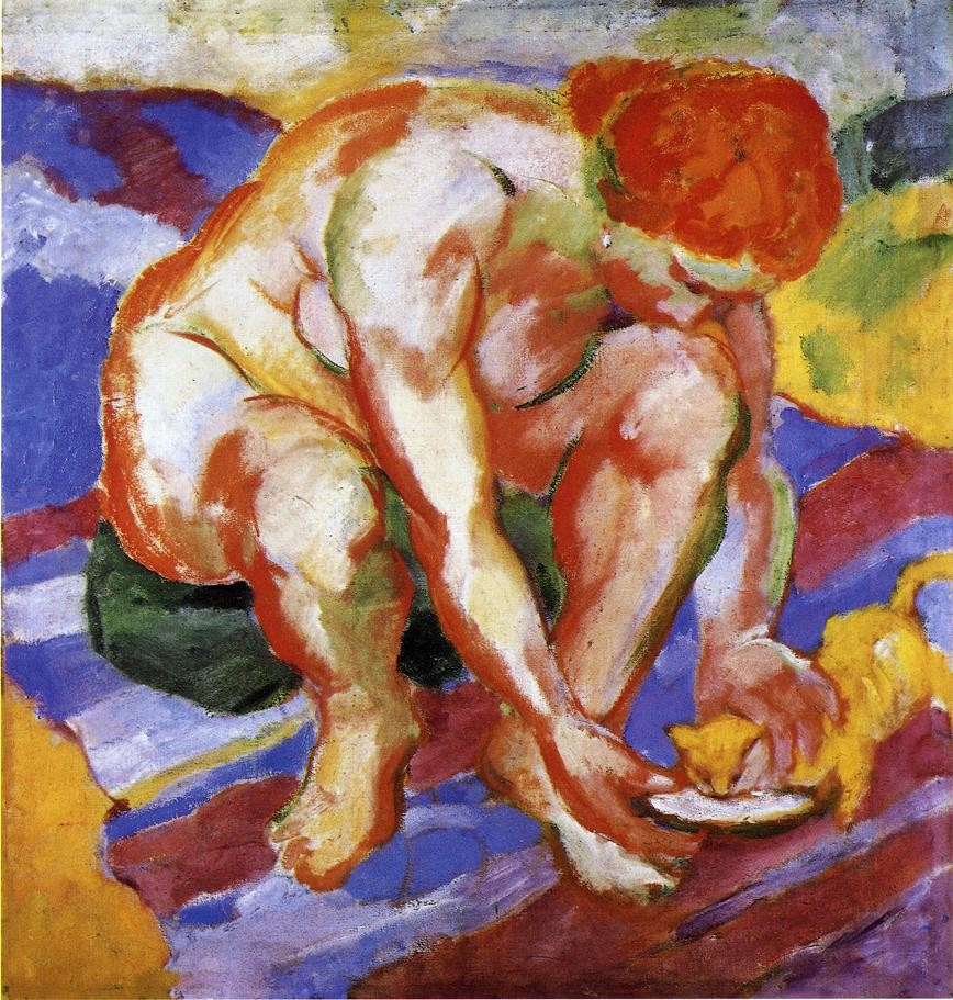 Nude With Cat by Franz Marc