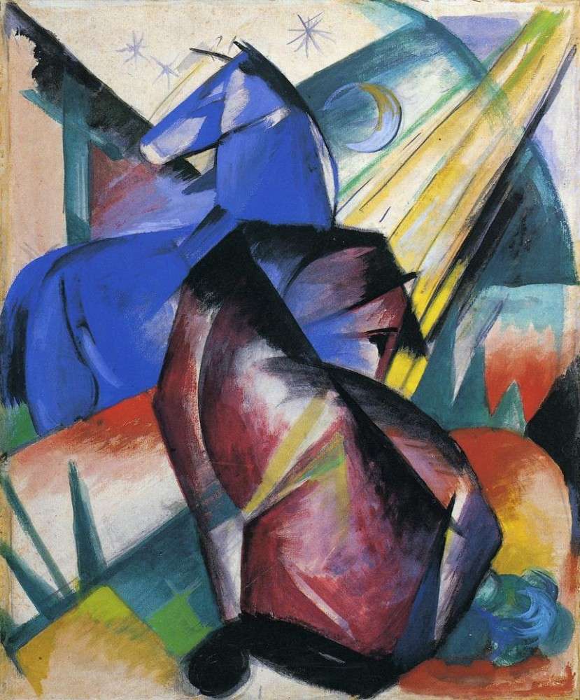 Two Horses Red And Blue by Franz Marc
