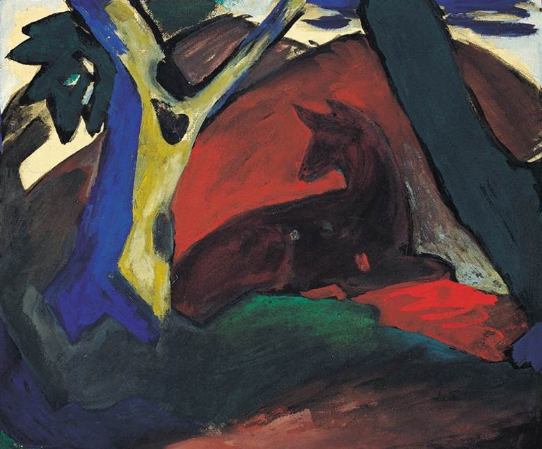 Crouching Deer by Franz Marc