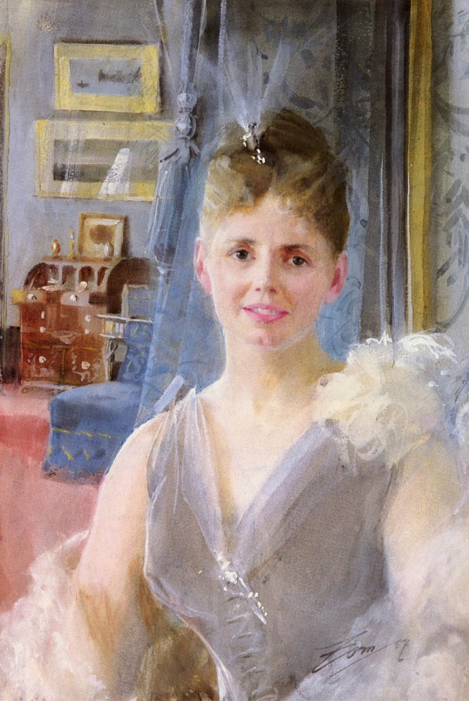 Portrait Of Edith Palgrave Edward In Her London Residence by Anders Leonard Zorn