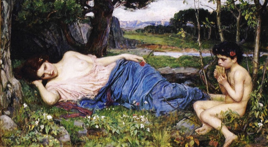 Listening to His Sweet Pipings by John William Waterhouse